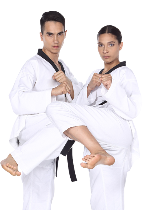 a man and a woman karate kicking