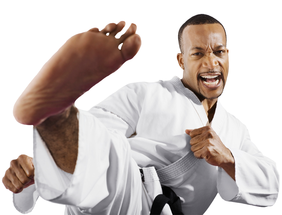 man karate kicking