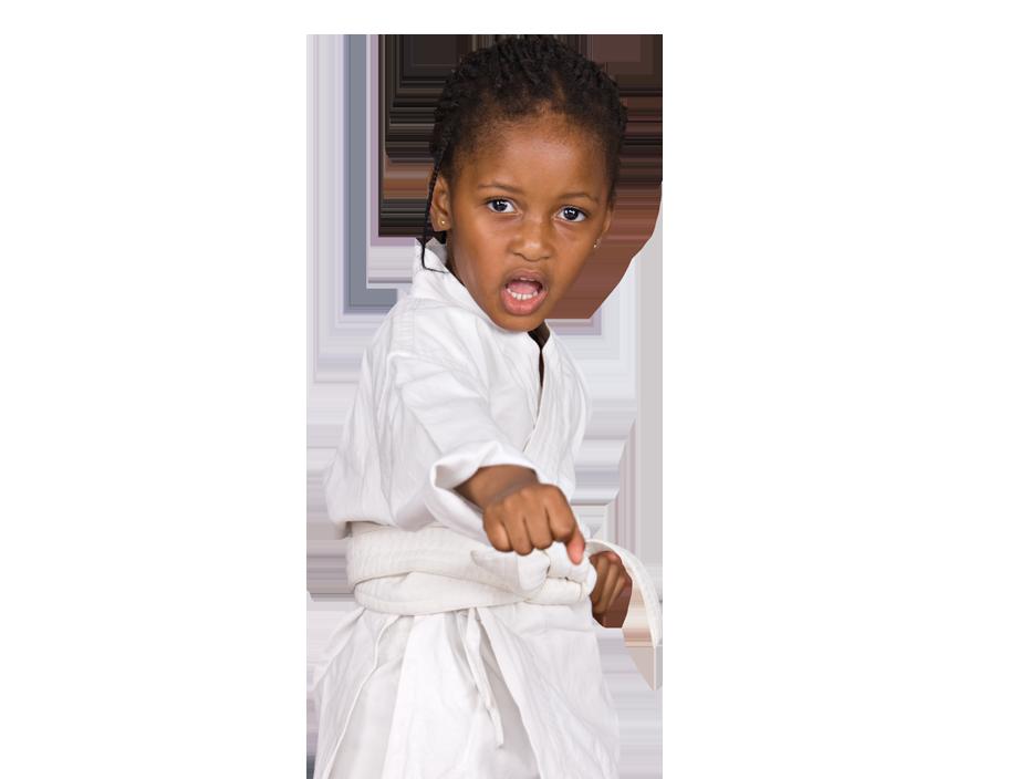 Pre-K karate student punching