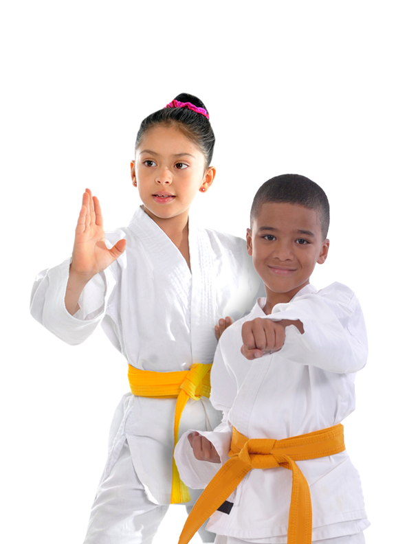 Karate kids punching