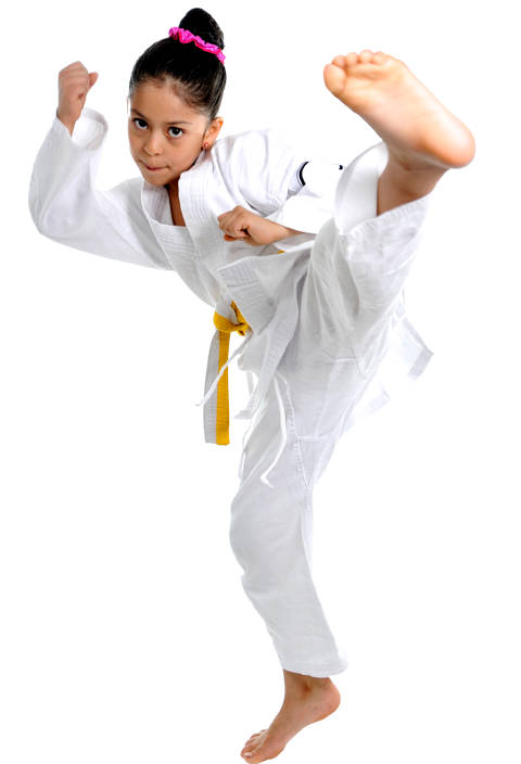 young girl doing a karate kick